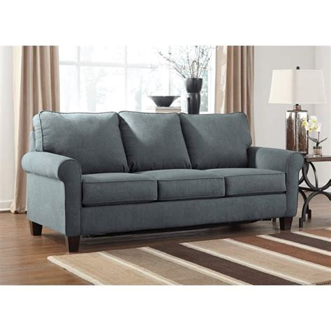 queen size sofa sleeper ashley zeth fabric queen size sleeper sofa in denim 2710139