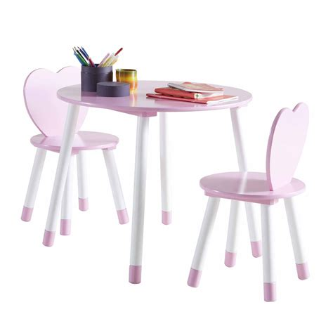 les tendances table et 2 chaises en bois blanc et