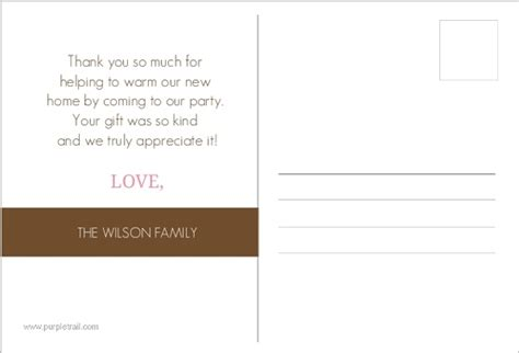housewarming thank you card template pink and brown housewarming set thank you card