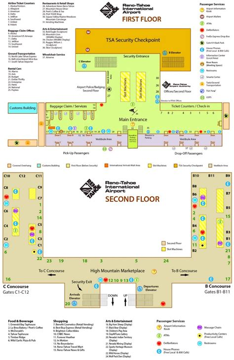 reno usa map reno tahoe international airport map