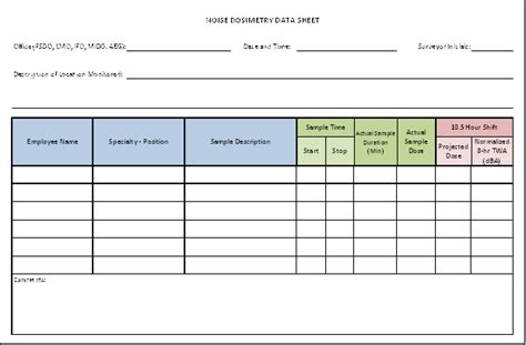 Title B 3 Noise Dosimetry Data Sheet Osha Hearing Conservation Program Template