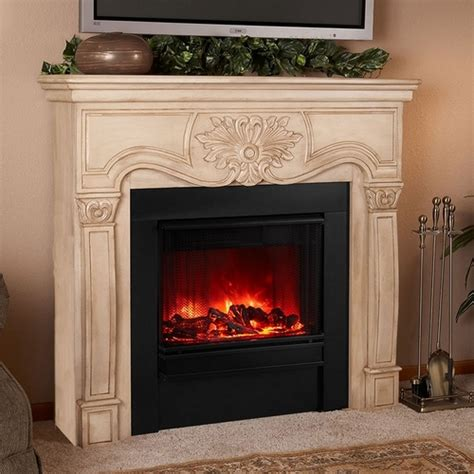 electric antique white fireplace by real
