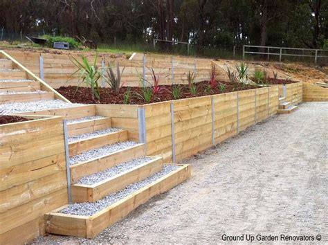Landscape Timber Garden Wall 1000 Ideas About Wood Retaining Wall On