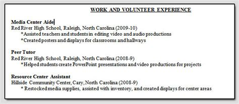 Resume Volunteer Work Section Rop 2013 Week 7 Part 2 Resume