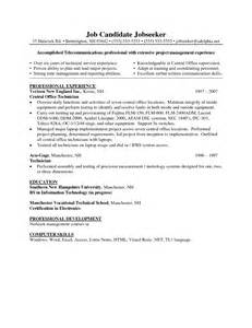 Telecommunications Technician Sle Resume by Pdf Telecommunications Technician Resume Sle