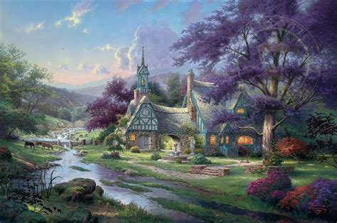 kinkade cottage painting clocktower cottage limited edition the