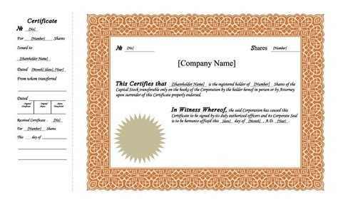 Stock Certificate Template by 41 Free Stock Certificate Templates Word Pdf Free