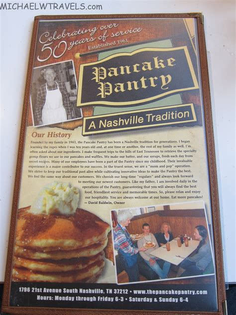 Pancake Pantry Nashville Menu by An Breakfast Pancake Pantry Nashville