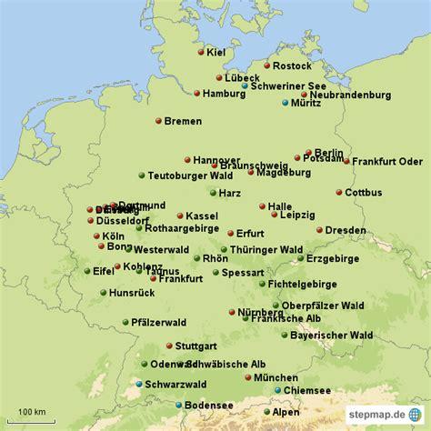 gebirgskarte deutschland deutschland gebirge seen und st 228 dte linchen0415
