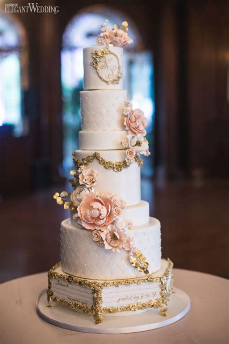 fairytale wedding cake storybook quote cake gold and pink wedding cake sugar flowers wedding