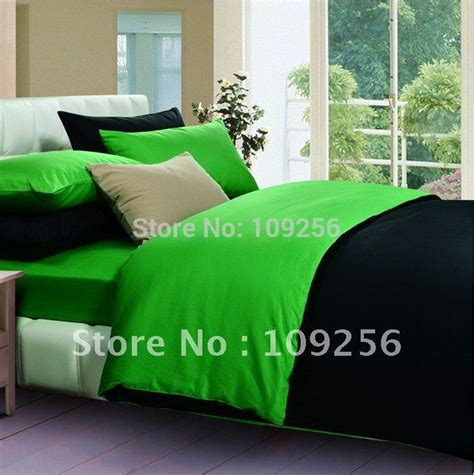 Green And Black Bedding Sets Free Ship 100 Sateen Cotton Green Black Color Luxury Bedding Set 4pcs Cover Cotton Plain Solid