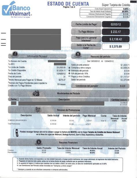 ejemplo estado de cuenta bancomer estado de cuenta de tarjeta banco walmart sam s club