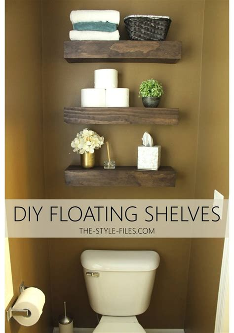 diy floating bathroom shelves or a creative way to