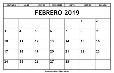 calendario febrero imprimir