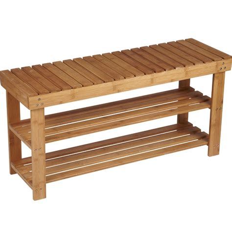 two shelf bamboo bench in storage benches