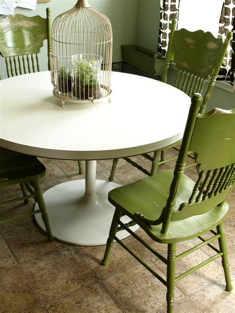 painted and distressed green kitchen chairs see cate create