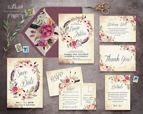floral wedding invitation set printable boho wedding - Wedding Invitations Sets