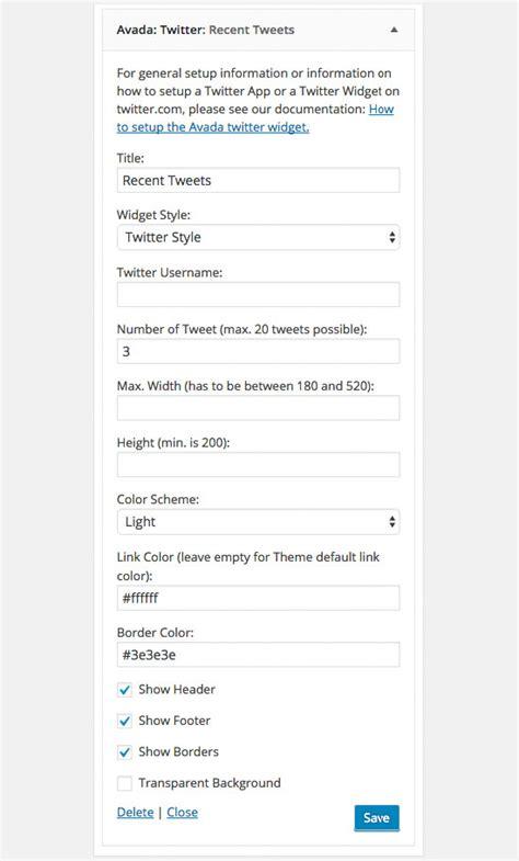 avada theme widgets twitter widget theme fusion