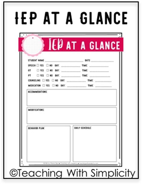 iep at a glance template build your own binder