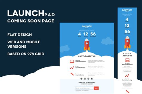 Launch Pad Coming Soon Psd Template Website Templates On Creative Market New Website Launch Email Template