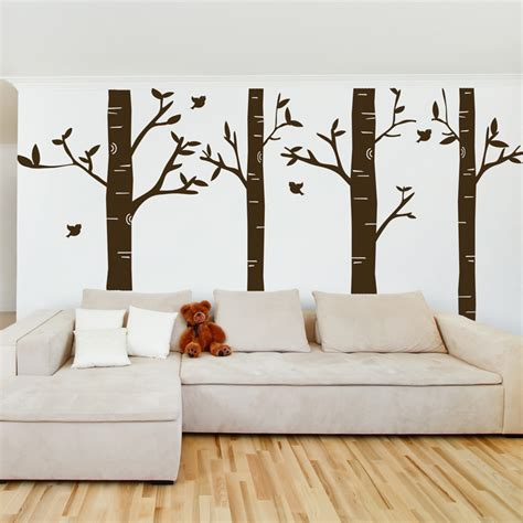 tree wall sticker birch tree forest set of 4 wall decals