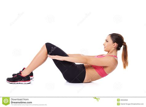 woman  sit ups royalty  stock  image