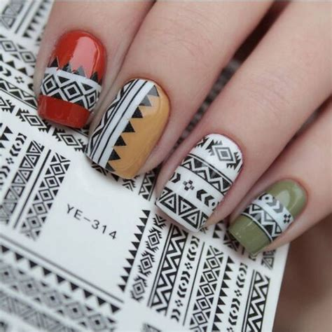 Koji Nail Stickers No 04 1 sheet tribal geo pattern nail water decals nail