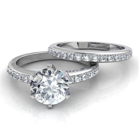 Engagement Ring Wedding Sets by Six Prong Pav 233 Engagement Ring Matching Wedding