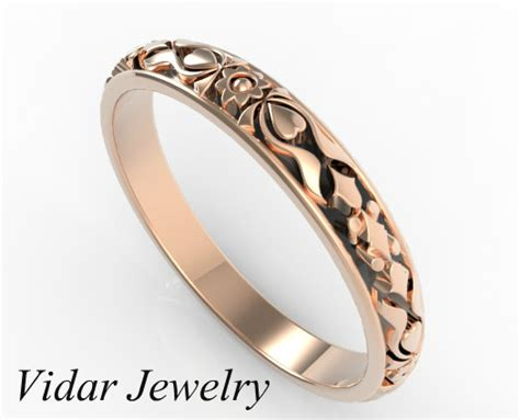 Rose Gold Vintage Flower Engraved Wedding Band   Vidar