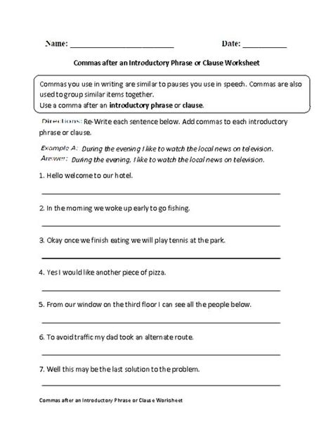 Commas Worksheet 5th Grade by Commas After Introductory Phrase Or Clause Worksheet