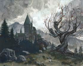 hogwarts and the whomping willow by danidraws on deviantart