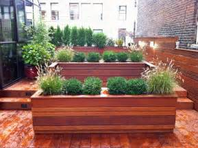 nyc roof garden terrace deck wood planter boxes fence container garden ipe contemporary