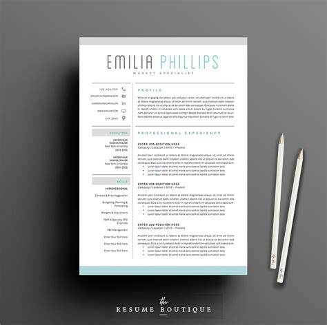 Creative Resume Template by Resume Template 4 Page Pack Aqua Resume Templates