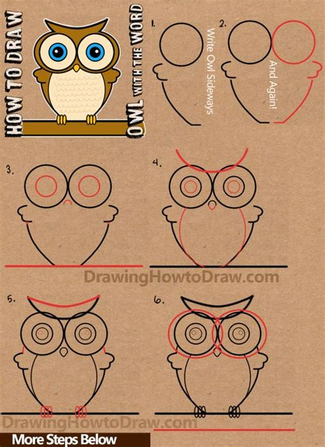 lettering tutorial easy how to draw cartoon owls with word owl step by step