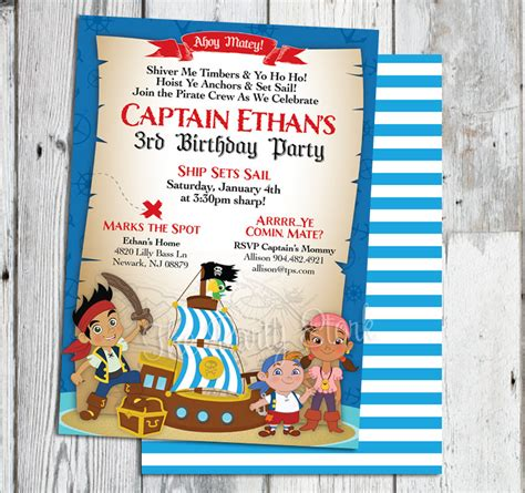 printable birthday invitations jake and the neverland pirates jake and the neverland pirate invitations jake and the