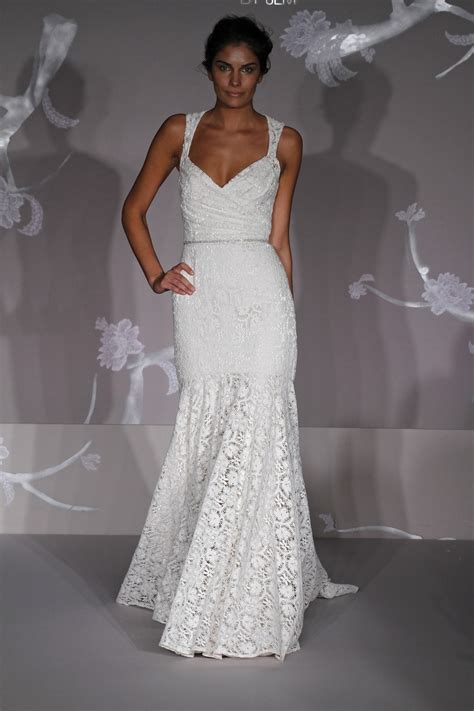 All Wedding Dresses by All Lace White Mermaid Wedding Dress With V Neckline And