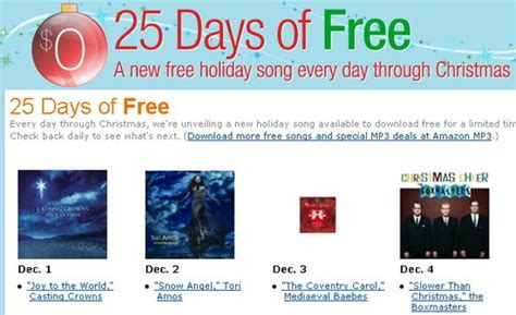 25 songs in 25 days petitemagique christmas 2009 freebie amazon com 25 days of free