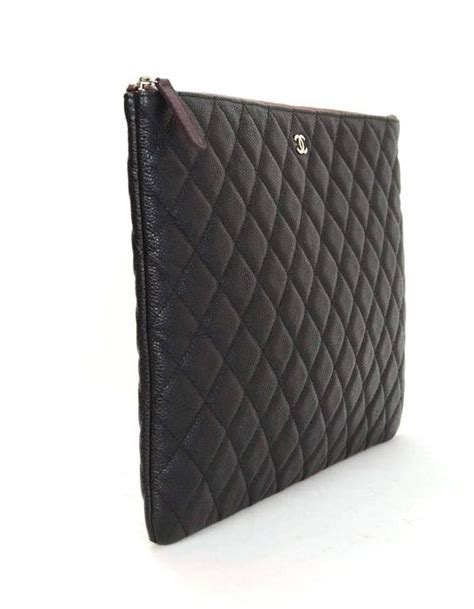 chanel black caviar leather quilted o clutch cosmetic