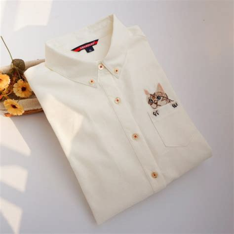 Cat Embroidery Shirt womens cat embroidery shirt casual sleeve blouse