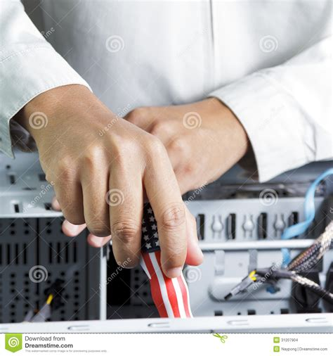 Hardware Technician by Technician Repairing Computer Hardware Stock Images Image 31207904