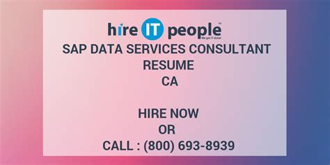 sap data services consultant resume ca hire it we get it done