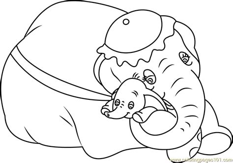 mom and baby dumbo printable coloring page for kids and adults