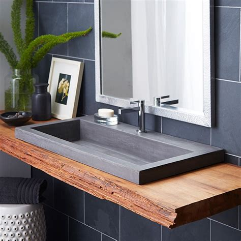 bathroom sink decorating ideas i love the mix of modern and rustic in this bathroom design this trough 3619 bathroom sink is