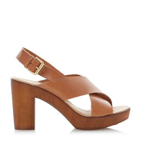 clog heels sandals dune fraggel clog sandal in brown lyst