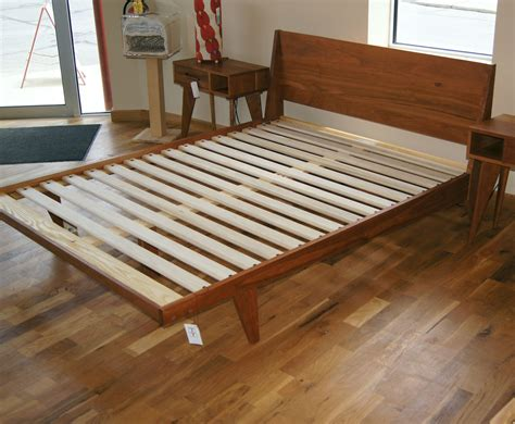 modern  platform bed handmade mid century modern bed