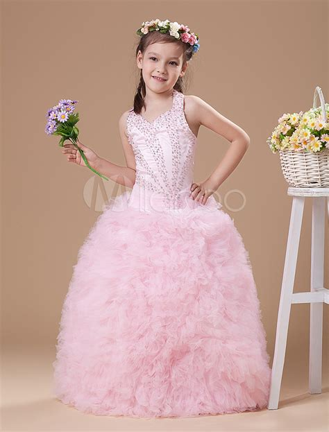 div opacity pink halter floor length ruffles gown pageant