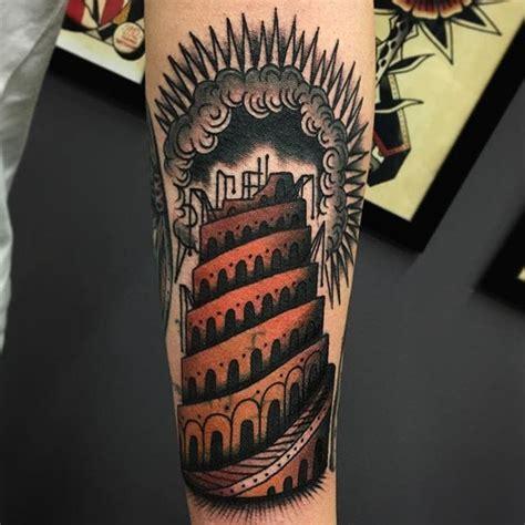tower classic tattoo 10 monumental tower of babel tattoos tattoodo