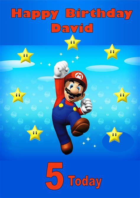 Mario Birthday Card Template by Personalised Mario Birthday Card 2