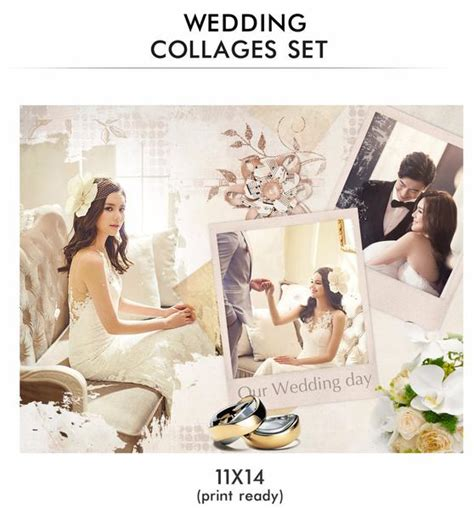 wedding collages templates wedding collages set just married