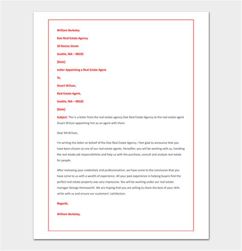 appointment letter real estate company appointment letter template 14 sle letters
